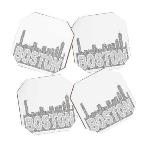 Deny Designs Restudio Designs Boston Skyline 1 Coasters, Set of 4