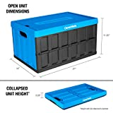 CleverMade 46L Collapsible Storage Bins with Lids - Folding Plastic Stackable Utility Crates, Solid Wall CleverCrates, 3 Pack, Neptune Blue