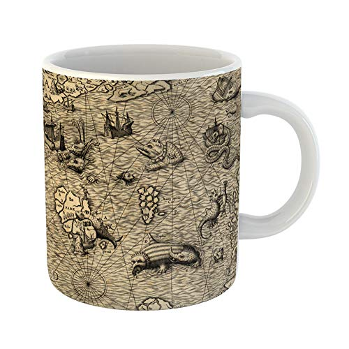 Emvency Coffee Tea Mug Gift 11 Ounces Funny Ceramic Colorful Old Antique Map of Northen Sea 1572 Fragment Monster Gifts For Family Friends Coworkers Boss Mug -