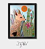 Desert Fox - Southwestern, Mexican, Arizona, Texas, Mexico, Tucson, Nevada, New Mexico, Southwest, Coyote, Mexican Folk Art, Cactus, Cactus Decor, Artwork, Art, Wall Art, Sonoran Desert, Agave, Aloe