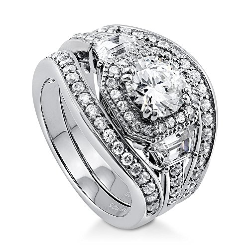 BERRICLE Rhodium Plated Sterling Silver Round Cubic Zirconia CZ Art Deco Halo Engagement Wedding Ring Set 2.48 CTW Size 9