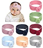 Baby Girl Nylon Headbands Newborn Infant Toddler Hairbands Bow Knotted Children Soft Headwrap Hair Accessories ... (Multicolor Aset3 (8pcs), nylon)