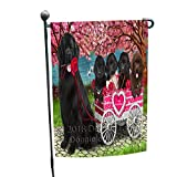 Doggie of the Day I Love Newfoundland Dog in a Cart Art Portrait Garden Flag GFLG52793 For Sale