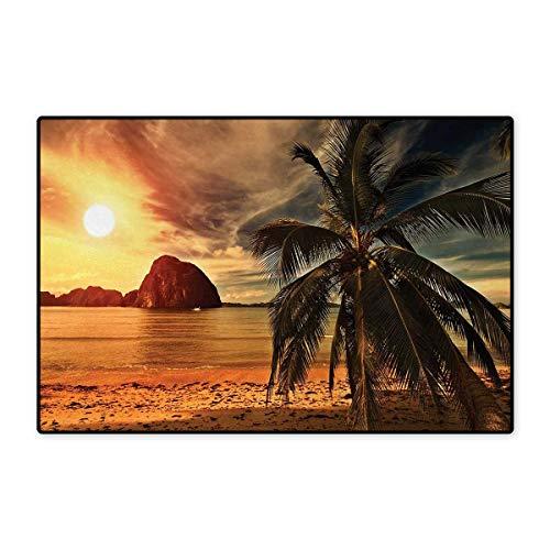 Decorative Rock Speaker - Ocean,Doormat,Havana Beach Sunny Tropics Mountains Rocks and Coconut Palm Trees,Bath Mats Carpet,Orange Light Brown Dark Green 24