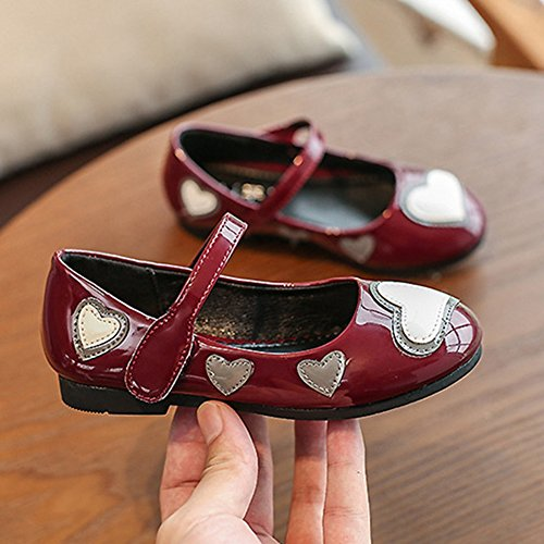 T-JULY Summer Girls Mary Jane Shoes Love Heart Ballet Flat with Strap (Toddler/Little Kid/Big Kid) Wine Red by T-JULY (Image #6)