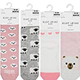 [12-24 Months] Kidz in Sox 4-Pack Non Slip Grip Socks | Baby Socks Non Skid Grey | Toddler Socks Girls With Grips | Solid Socks for Baby