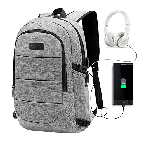 Laptop Backpack, Anti Theft College Students Travel Water Proof Laptop Backpack with USB Charging Port and Earphone Port, Fits Business Laptops Notebooks up to 15.6 Inches