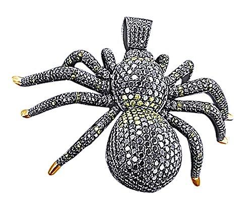 Wishrocks Black CZ Black Spider Insect Bug Pendant Necklace Hip Hop Sterling Silver (20.00 CTTW) ()