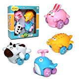 JolaJola Toddler Car Toys for Boys - Push and Go Toys Friction Powered Toy Cars, Best Toy Gift for 1,2, 3, 4+ Year Old Kids Boys Girls –Set of 4 Cute Cartoon Toy Cars