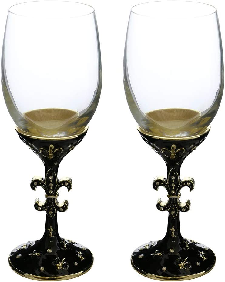 (D) Pair of Crystal Wine Stem Glasses Fleur De Lis, Modern Style Glassware 51BJ14BwdwLSL1000_