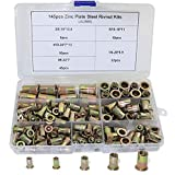 Boeray 145pcs #10-24#8-32 1/4-20 5/16-18 3/8-16 Yellow Zinc Plated Finish Carbon Steel Rivnut Flat Head Threaded Rivet Nut Insert Nutsert Cap Rivet Assortment kit