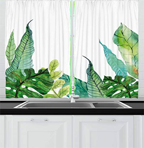 Ambesonne Leaf Kitchen Curtains, Watercolor Hand Drawn Style Print Panda Banana Fragipani Tropical Trees Exotic Leaves, Window Drapes 2 Panel Set for Kitchen Cafe, 55 W X 39 L Inches, Green White