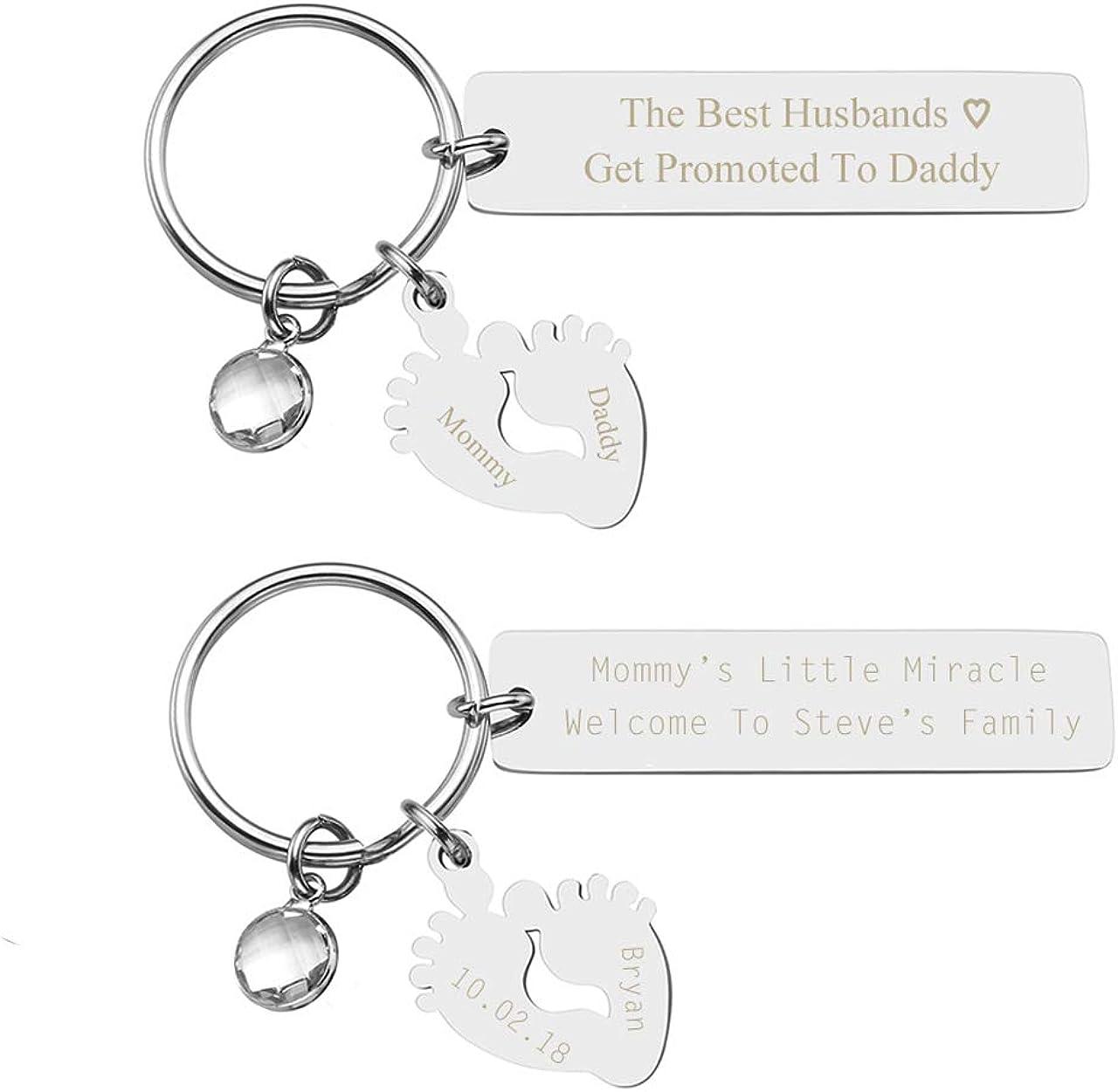 JOVIVI Personalized Custom Birth Announcement Keychain Dog Tag Keyring