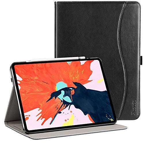 Ztotop iPad Pro 12.9 2018 ケース 高級PUレザー製 Pencil収納 ワイヤレス充電対応 オートスリープ機能 カードポケット付き 手帳型 全面保護 2018秋発売の最新版iPad Pro 12.9インチ 対応スマートカバー(ブラック)