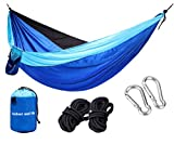 OutdoorandMe Double Hammock Lightweight Parachute Nylon Hammocks Carabiners and Ropes Included for Backpacking Camping Travel Beach Yard RoyalBlue