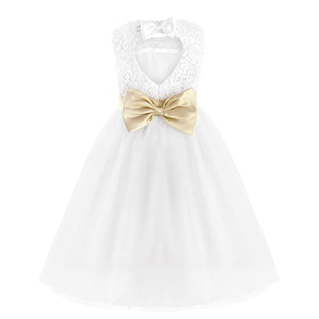 Amazon.com: FEESHOW Flower Girl Dress Kids Heart Cutout Back First Communion Wedding Party Pageant: Clothing