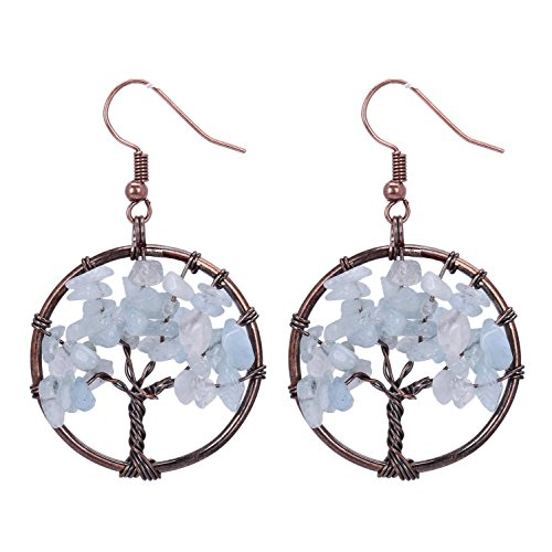 Sedmart Tree of Life Pendant Earrings Chakra Wire Wrapped Wisdom Sapphire Jewelry Mothers Day Gifts
