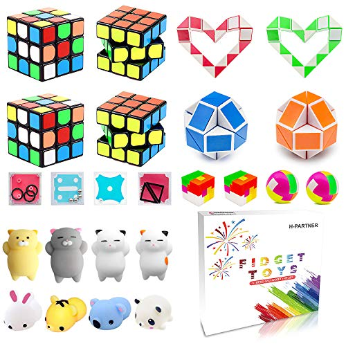 (Party Favor Pinata Filler,Treasure Chest,Mini Magic Cube,Brain Teaser Puzzle Boxes,Mochi Squishies,Snake Twist Puzzle,IQ Puzzle Toy,Treasure Box Prizes For Carnival Prizes,Goodie Bag Fillers,Classroom Rewards)