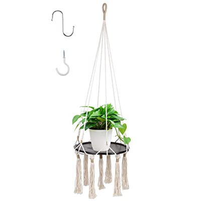 GROWNEER 48 Inches Macrame Plant Hanger Plant Hanging Shelf with 2 Pcs Hooks and Round Wood Plate, Indoor Decorative Flower Pot Holder Boho Home Décor: Garden & Outdoor