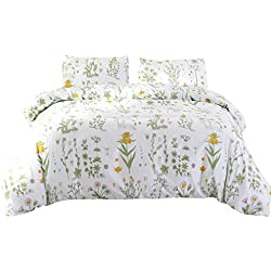 DECMAY Duvet Cover Sets 3-Pieces Super Soft Microfiber with Zipper Closure,Quilt Cover Bedroom Sets(1 Duvet Cover & 2 Pillowcases) Easy Care of Durable Fabrics,Floral Pattern,King Size