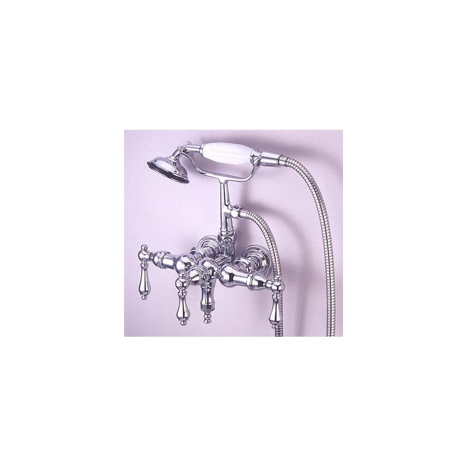 Elements of Design DT0201PL St. Louis Wall Mount Clawfoot Tub Filler with Hand Shower, Polished Chrome