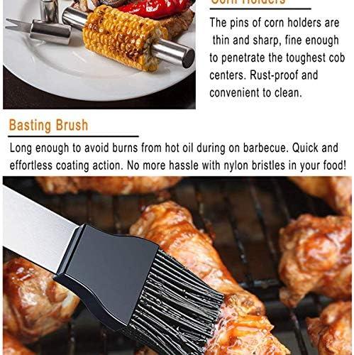 CAPUCHE SWEAT Kit D'outils De Barbecue en Acier Inoxydable Robuste pour Hommes Femmes Barbecue en Plein Air Ustensile De Cuisson avec Boîtier en Plastique pour Camping Barbecue