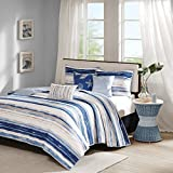 Extra Wide King Size Bedding Madison Park Marina 6 Piece Quilted Coverlet Set, Blue, Cal King, King/California King,