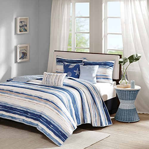 Cal King 6 Piece Bedding - Madison Park Marina King/Cal King Size Quilt Bedding Set - Blue, Watercolor Coastal Stripes – 6 Piece Bedding Quilt Coverlets – Ultra Soft Microfiber with Cotton Filling Bed Quilts Quilted Coverlet
