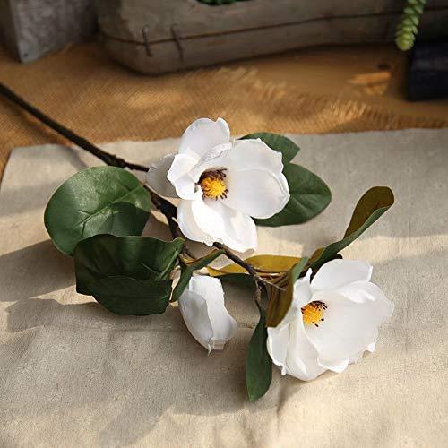 Hivot Artificial Plant Leaf Magnolia Floral Wedding Bouquet Party Arrangement Fake Flowers Home Garden Decor -