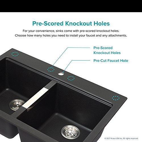 Kraus 33 1/2 inch Dual Double Bowl Granite Kitchen Sink