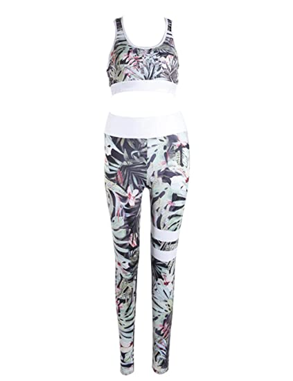 MACCHIASHINE Womens 2 PCS Pattern Print Sports Bra Pants Set Yoga Wear Set Racerback Bra and Leggings Tights