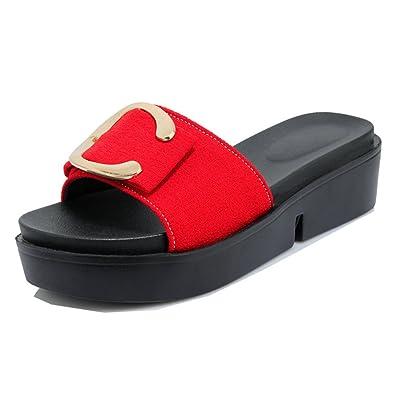 85b98aface63bb Aisun Femme Confort Chaussures Plates Ornement Métallique Mules