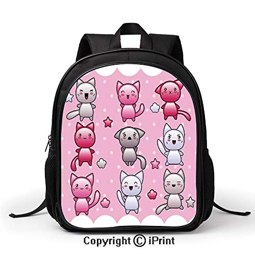 Leisure Theft Prevention School Bag for Kids Cute Kitty Doodles with Emotions Funny Animal Theme Japanese Art Print Backpack :Suitable for Men and Women,School,Travel,Daily use,etc,Pink Blue Purple