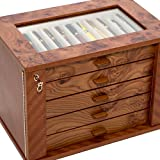 Bello Collezioni - Via Mazzini Luxury Briar Wood Case for 55 Pens. Made in Italy