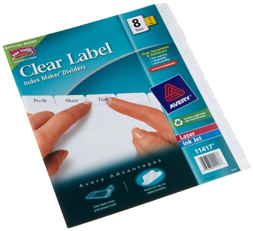 Avery Dennison Index Maker (Avery 11417 Index Maker, Laser, Punched, 8-Tab, 1/ST8-1/2