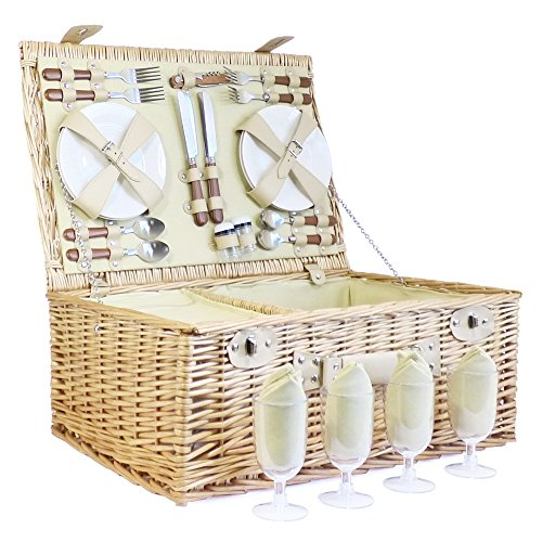 Kensington 4 Person Wicker Picnic Basket Set includes Cream Blanket - Gift idea for Fathers Day, Mom, him, her, Birthday, Wedding, Anniversary, Corporate, Business,Thank you, Family, Vacation, Dad by Picnic Basket Specialists