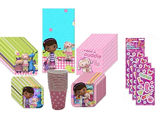 Doc McStuffins Party Kit Including Plates, Cups, Tablecover and Napkins - 16 Guests by -
