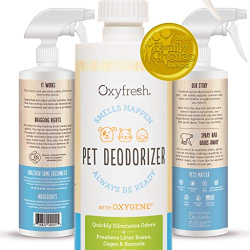 - Oxyfresh Professional Strength Pet Deodorizer 16 oz. - Odor Remover - Eliminates Urine, Skunk, Litter Box, Cage and Kennel Odors. Pet Safe Ingredients Non - Toxic, Paraben Free, Dye Free.