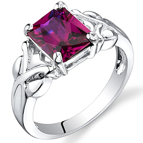 3.00 carats Radiant Cut Created Ruby Ring in Sterling Silver Rhodium Nickel Finish size 9 ()