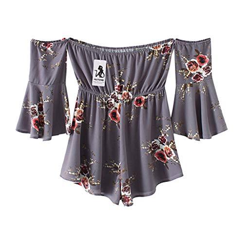 Jeans Junkie Fit Skinny (TOPUNDER Fashion Women Floral Print Jumpsuits Flare Sleeve Off Shoulder Short Romper Gray)