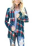 Annflat Women's Soft Open Front Draped Long Sleeve Rib Knit Shawl Cardigan Jersey Sweater Medium Green