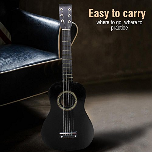 23 Inch Guitar for Kids, Basswood Mini Guitar Kids Musical Instrument Toy for Beginner(Black) by Dilwe (Image #2)