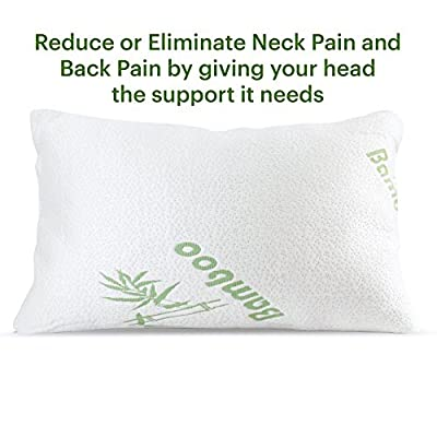 Best Bamboo Shredded Memory Foam Pillow for Neck Pain Side, Back or Stomach Sleepers, Stay Cool Hypoallergenic Anti Snoring, Eliminates Pain