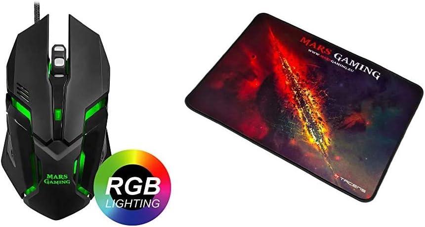 Mars Gaming MRM0 - Ratón PC, 4000DPI, óptico, iluminación RGB Flow + MMP1 Alfombrilla Gaming para PC (Máxima Precisión con Cualquier Ratón, Base de Caucho Natural