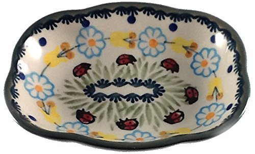 Manufaktura Polish Pottery Soap Dish, Ring Holder Condiment Bowl in Ladybug