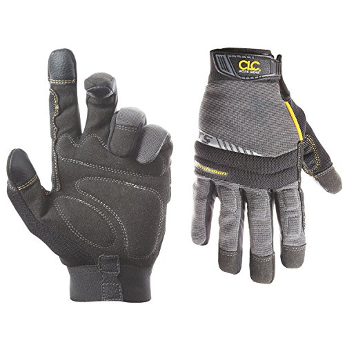 CLC Custom Leathercraft 125L Handyman Flex Grip Work Gloves, Shrink Resistant, Improved Dexterity, Tough, Stretchable, Excellent Grip - Fingertip Coated Gloves