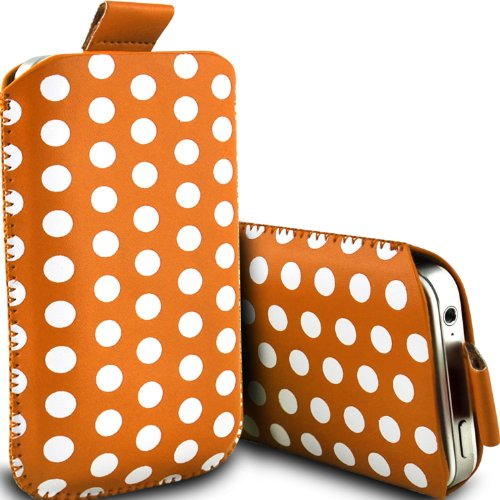 (Orange) Motorola Moto G (2014) dual sim Protective Stylish Fitted Faux Leather Polka Dot Pull tab Pouch Skin Case Cover by ONX3