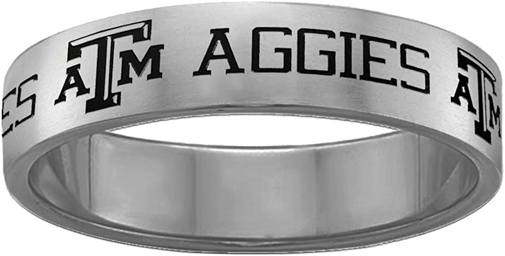 College Jewelry Texas A/&M Aggies Magnetic Therapy Rings Stainless Steel 8MM Wide Ring Band Full Logo