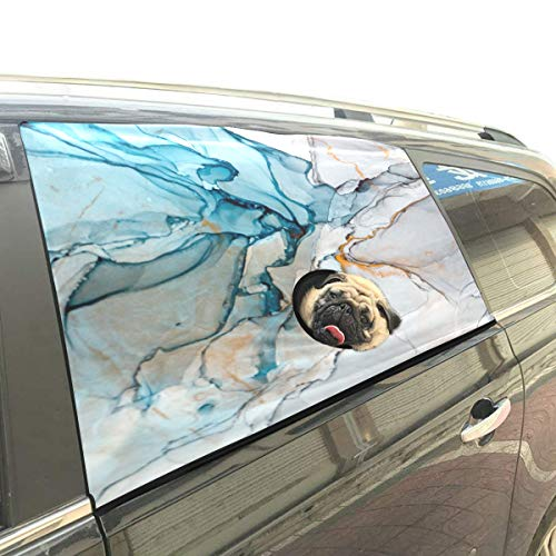 Liaosax Abstract Ink Painting Foldable Pet Dog Safety Car Printed Window Fence Curtain Barriers Protector for Baby Kid Adjustable Flexible Sun Shade Cover Universal Fit for ()