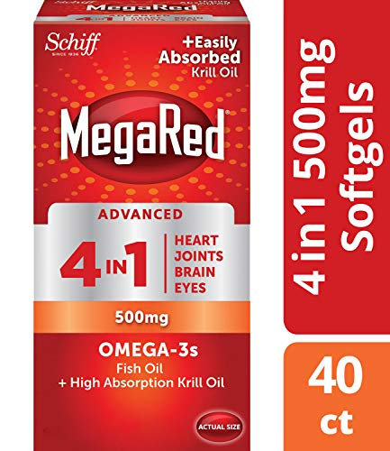 MegaRed Advanced 4in1 Omega-3 Fish Oil + High Absorption Krill Oil 500mg, Concentrated Omega-3 Fish & Krill Oil Supplement for Heart, Joints, Brain & Eyes, 40 Count